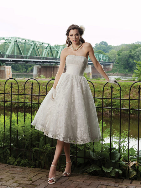 Retro 50s Strapless Lace Tea Length Wedding Dress with Ruched Bodice