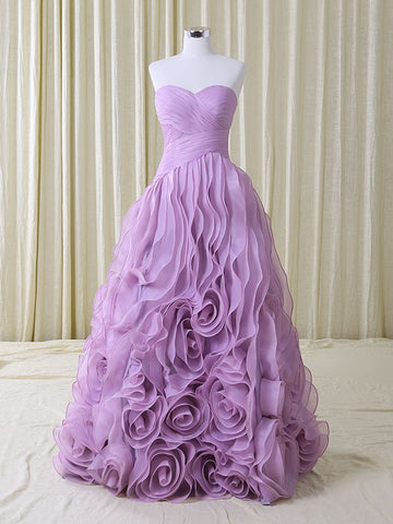 Strapless Purple Wedding Dress with Ruffles | RS5002
