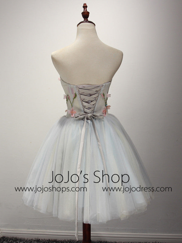 Strapless Short Gray Bridesmaid Dress with Flower Appliques