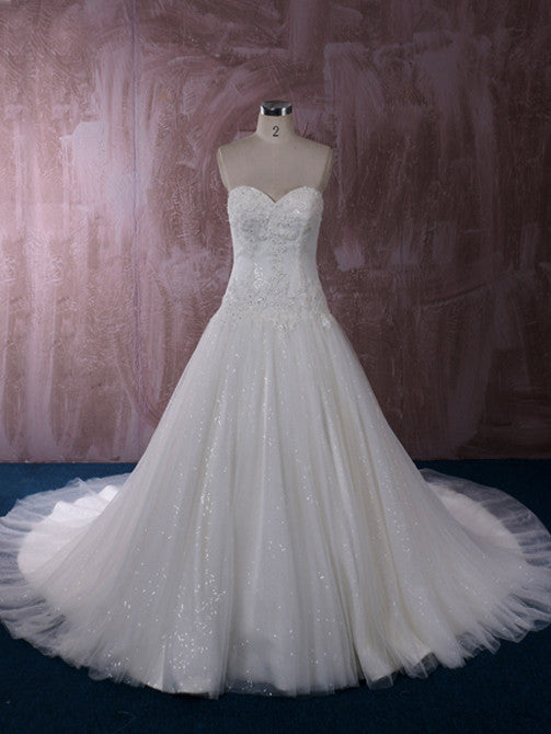 Timeless Ball Gown Lace Wedding Dress with Dropped Waist | QT85364