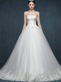 Strapless Lace Ball Gown Wedding Dress with Sweetheart Neckline