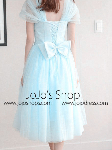 Tea Length Short Bridesmaid Dress with Cap Sleeves