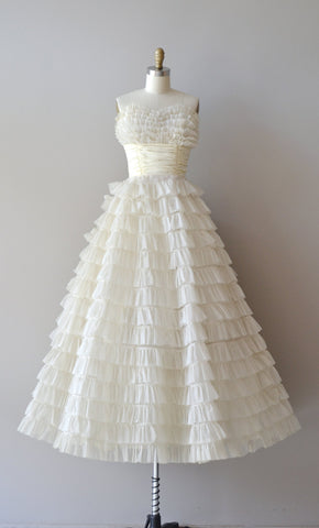 Retro Strapless Tea Length Wedding Dress with Tiered Ruffles