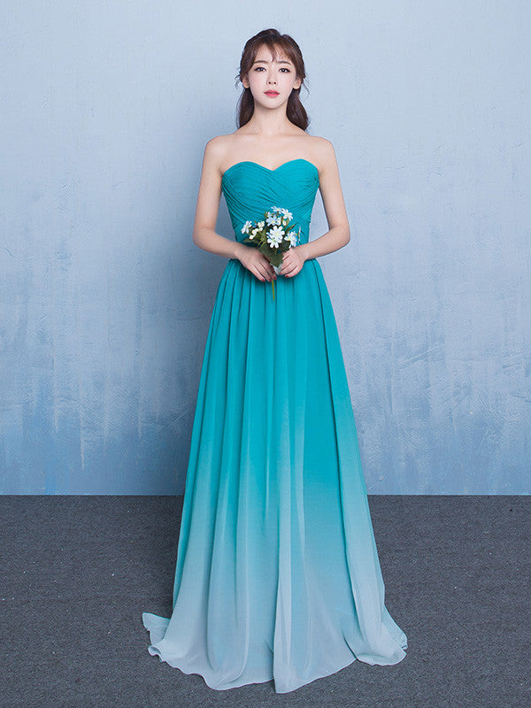 Teal Changing Color Bridesmaid Dress