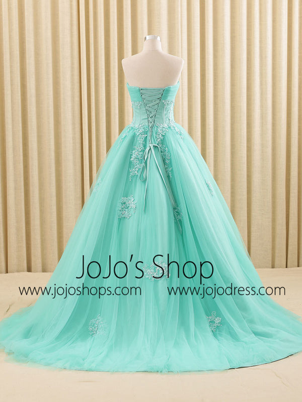 Turquoise Lace Ball Gown Wedding Dress | RS6805 Tur