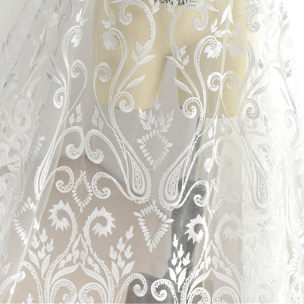 Vintage Style Ivory Embroidered Lace LC1003