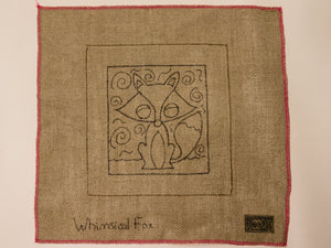 Whimsical Fox Rug Hooking Pattern on Linen