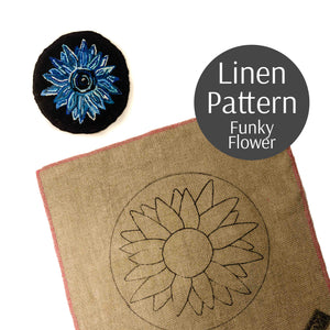 Flower Rug Hooking Pattern on Linen