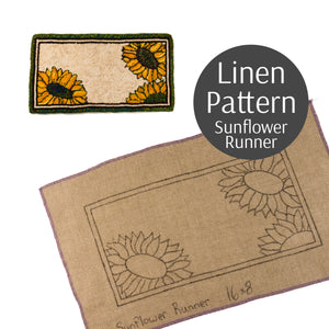 Sunflower Runner Rug Hooking Pattern on Linen
