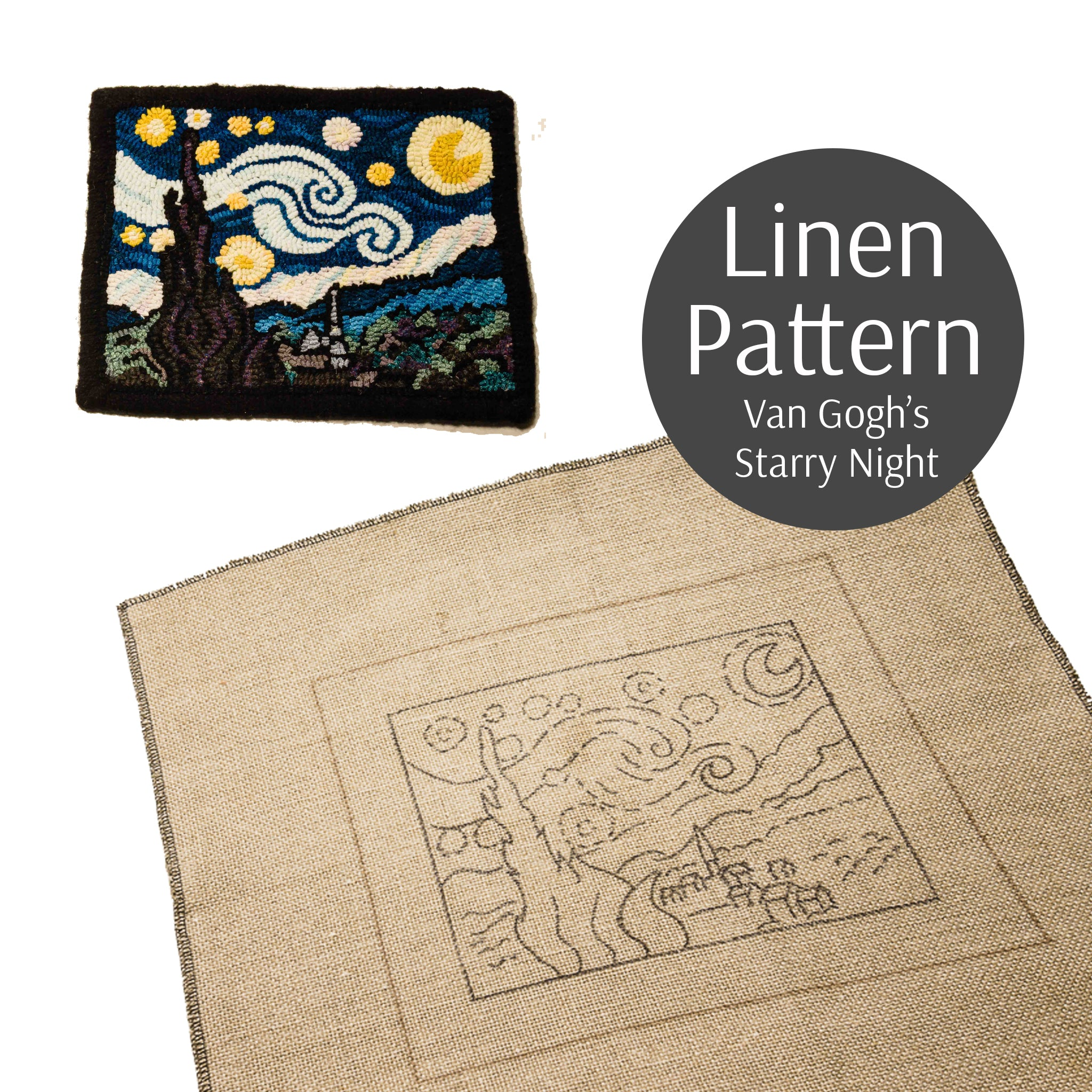 Van Gogh S Starry Night Linen Pattern Loopy Wool Supply