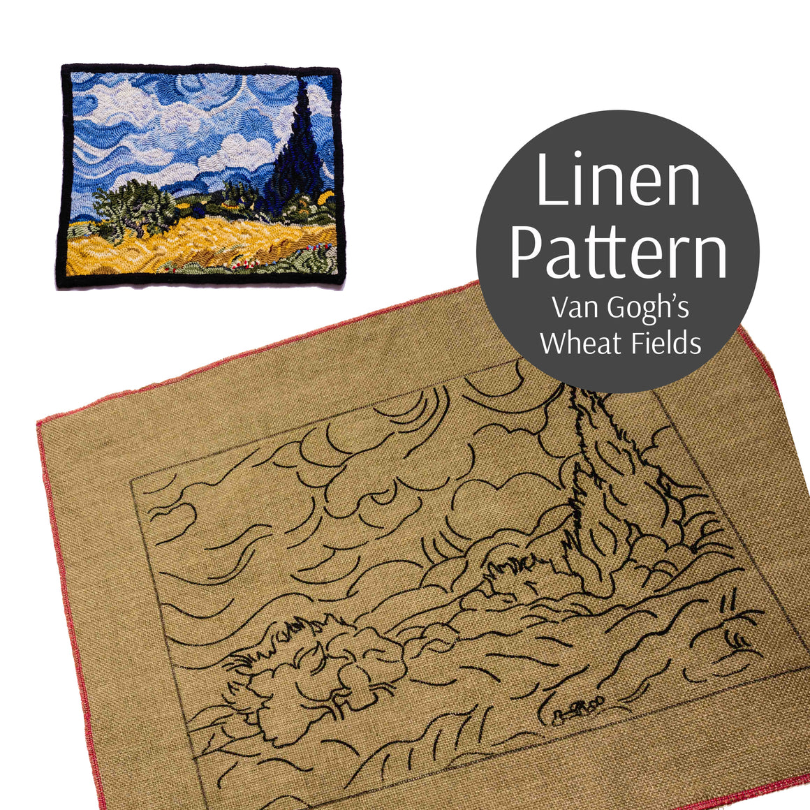 "Rug Hooking Pattern, Van Gogh's Wheatfield with Cypress, Linen Rug Hooking Pattern, 15""x20"""