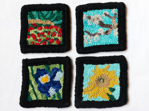 Van Gogh's Flowers Rug Hooking Kit - 4 Coasters