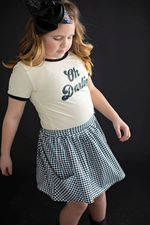 Black and White Gingham Skort