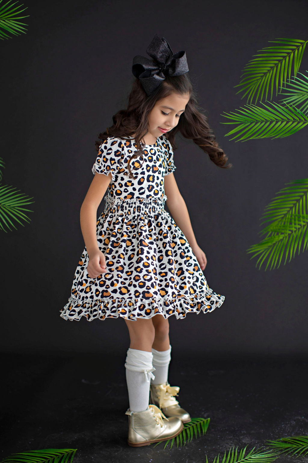 Cleo Gathered Waist Leopard Dress