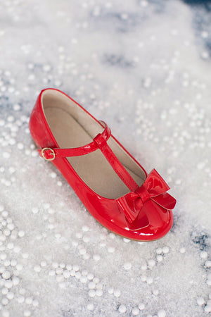 Mary Jane T-Strap Bow Shoe Red