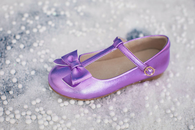 Mary Jane T-Strap Bow Shoe Metallic Purple