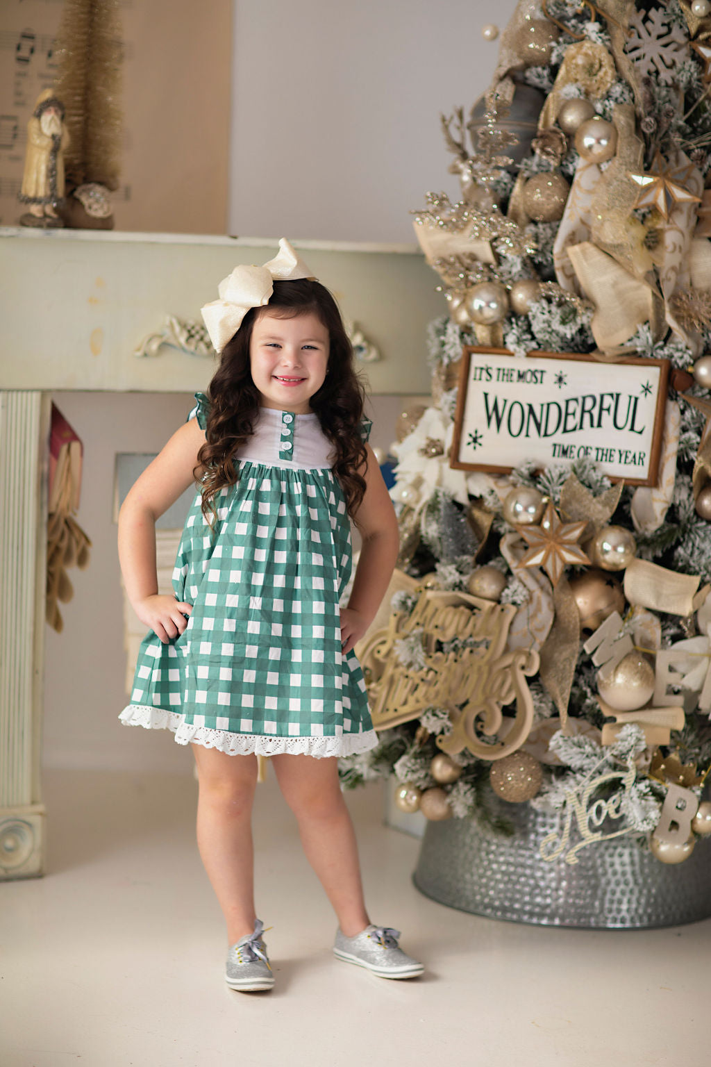 Green Gingham Dress and Bloomers