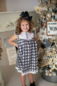 Black Gingham Dress and Bloomers