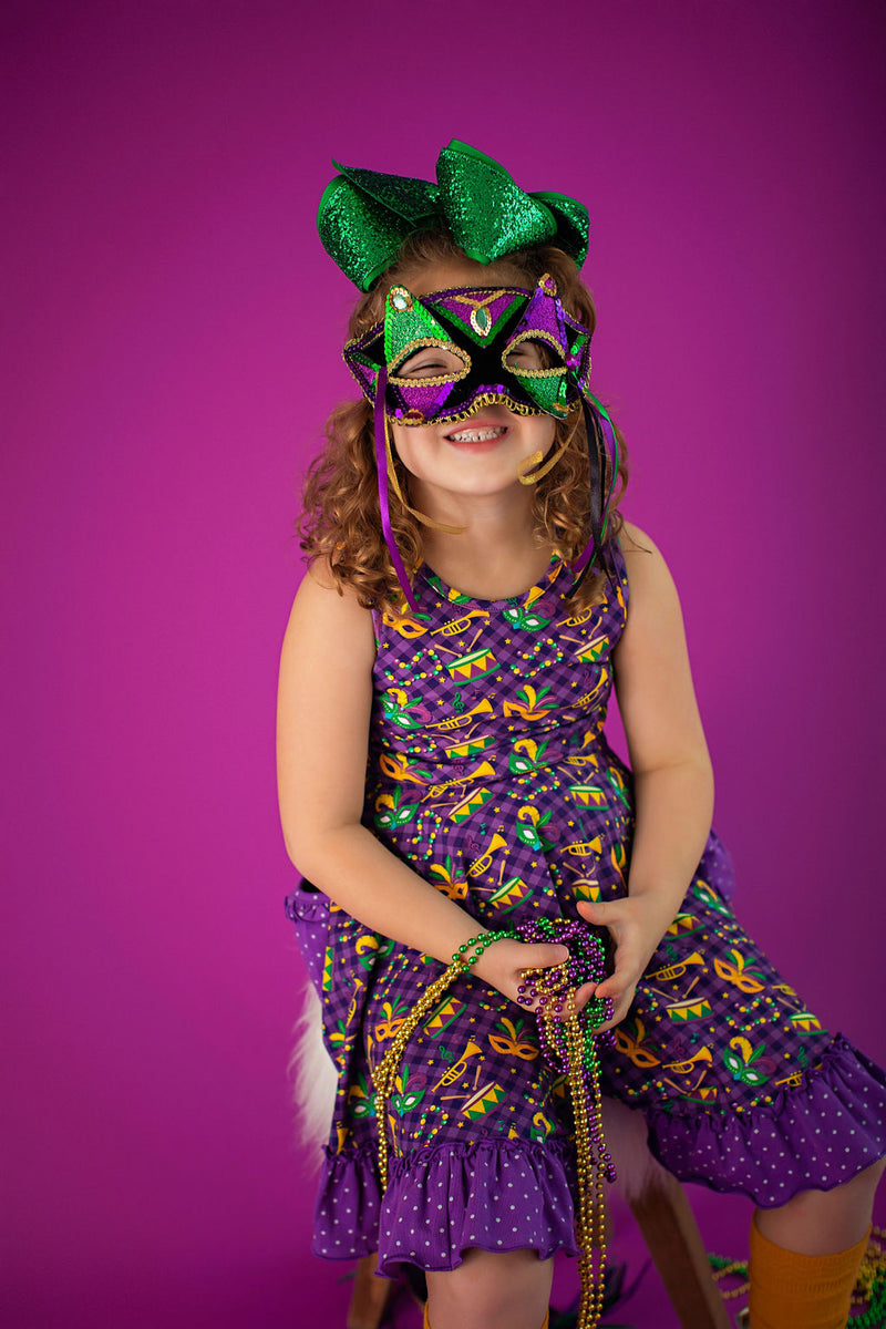Mardi Gras Mask Dress- 2nd Quality Sale