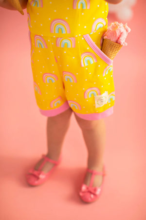 Rainbow Short Romper Yellow