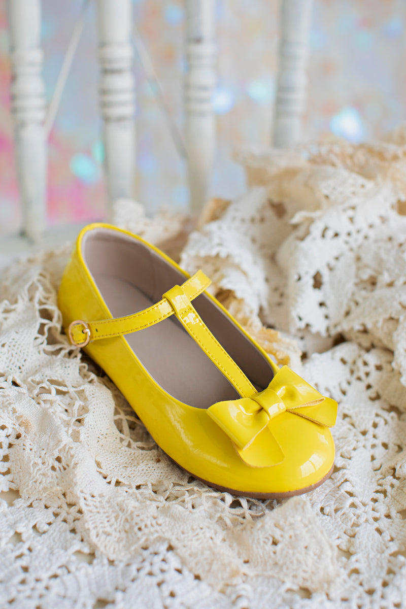 Mary Jane T-Strap Bow Shoe Yellow
