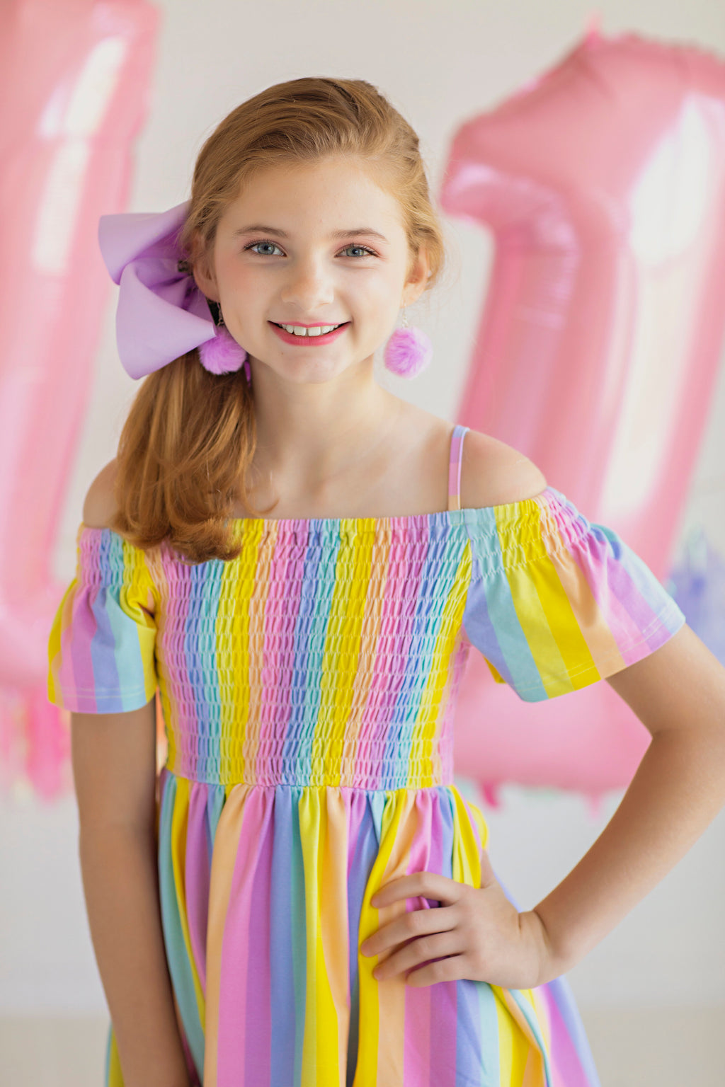 Rainbow Stripe Off Shoulders Dress