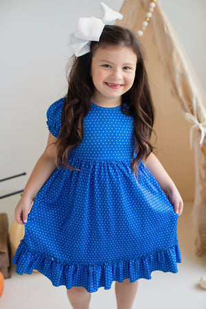 Bright Blue Dot Ruffle Dress