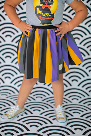 Spooky Stripes Skater Skirt (4039788232749)