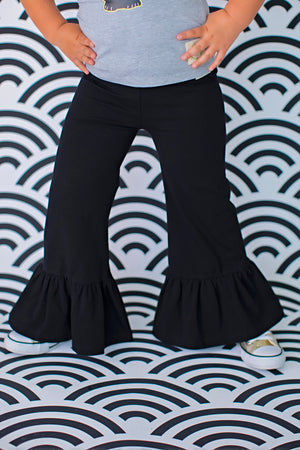 Wide Leg Ruffle Pants - Licorice (4273760075911)