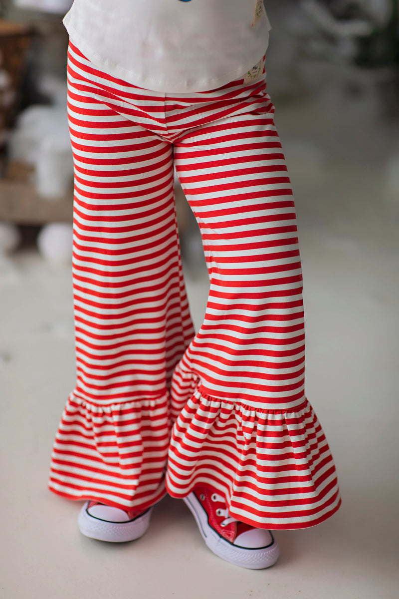 Wide Leg Ruffle Pants - Peppermint Stripe (4275804340359)