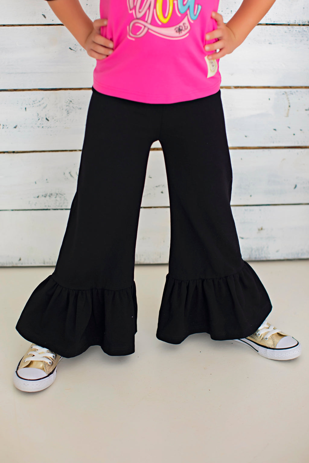 Wide Leg Ruffle Pants - Licorice