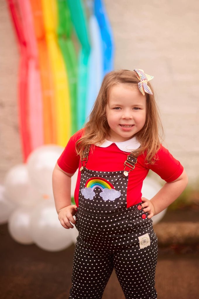 Round We Go Rainbow Overalls - NEW