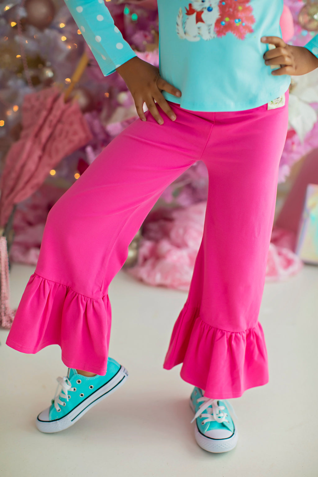 Wide Leg Ruffle Pants - Pink Punch (4292036034695)
