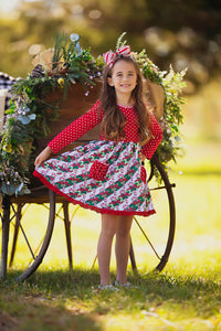 Candy Cane Christmas Pocket Dress (4377532399751)