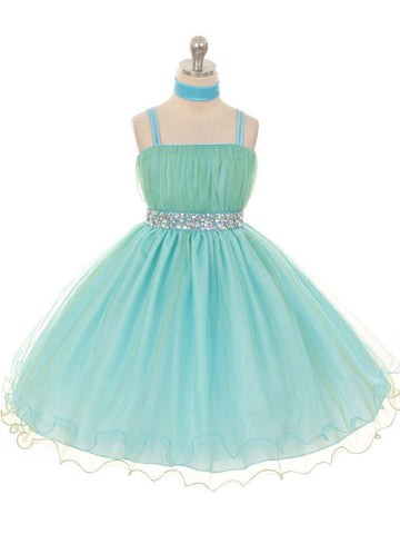 Chic Two-Tone Mint Tulle Knee Length Dress