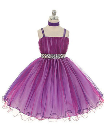 Chic Two-Tone Purple Tulle Knee Length Dress