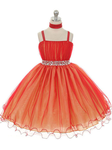 Red Knee Length Flower Girl Dresses
