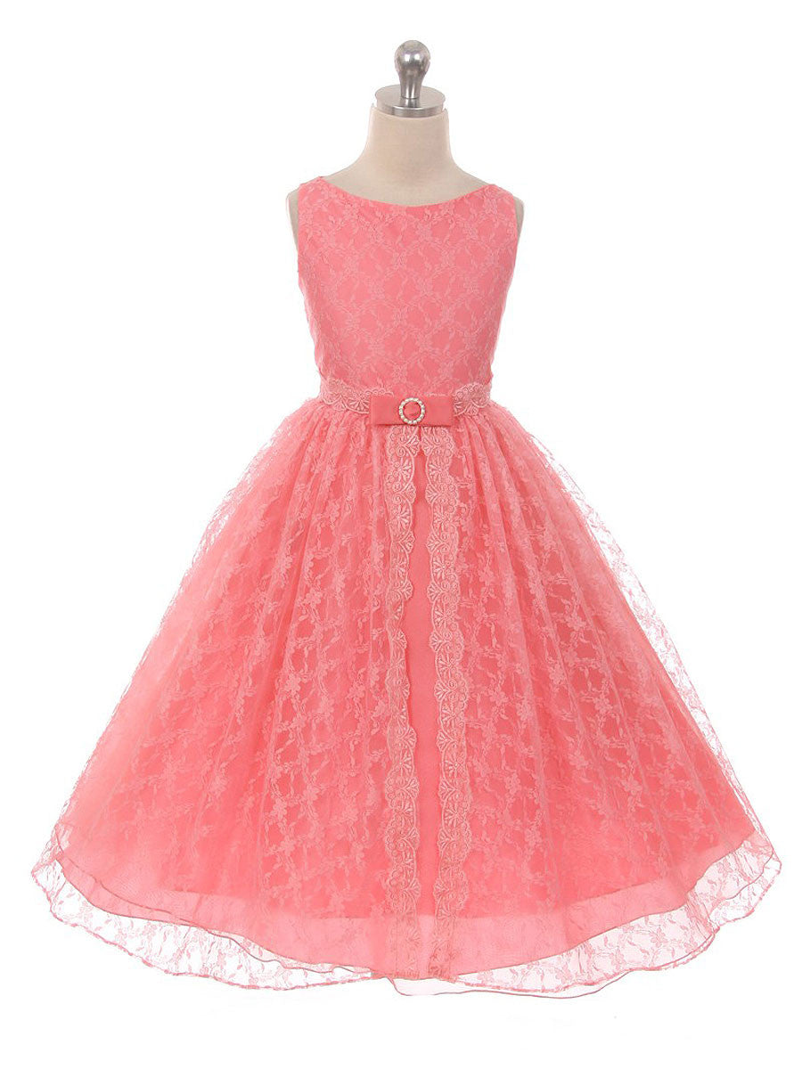 Coral lace flower girl dress