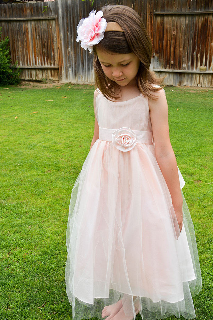 Tulle Pink Layered Flower Girl Dress with Hand-rolled Pin Rosette