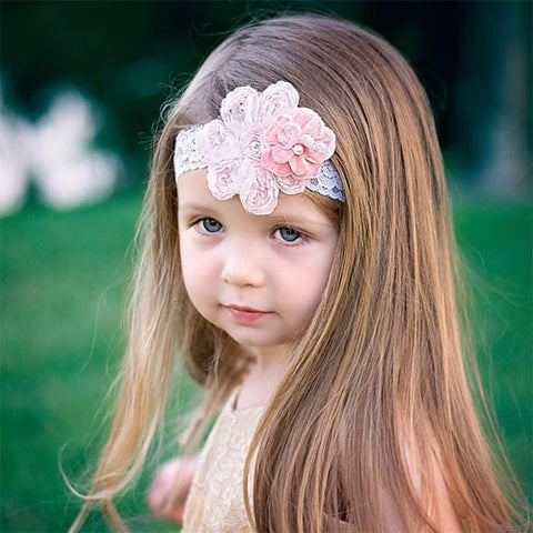 Sweet Pink Elastic Lace headband