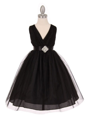 V-Neck Pleated Flower Girl Dress with Dazzling Rhinestone Broach