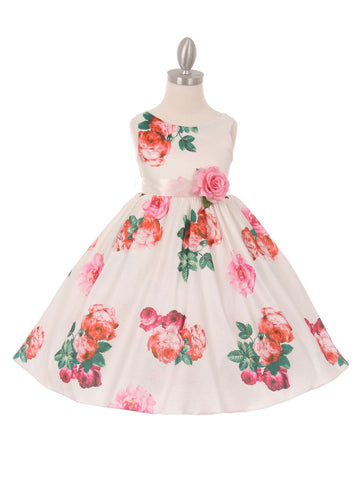Large Floral Print Taffeta Dress