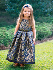 Elegant Jacquard Dress with Pleated Trim