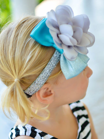 Sweet Blue and Silver Adjustable Headband