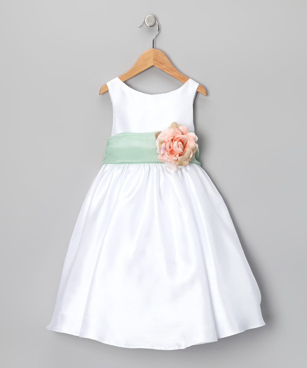 Classic Poly Silk Flower Girl Dress With Organza Sash Just Unique