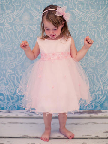 Satin Baby Dress with Tulle layer skirt and Beaded Waist