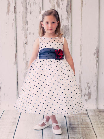 Brown Organza Polka-dot Flower Girl Dress