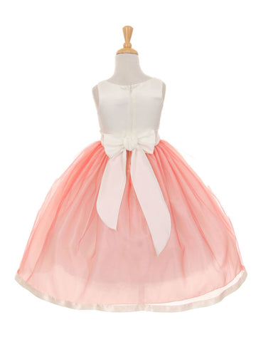 Champagne Satin and Tulle Layered Dress with Satin Bow