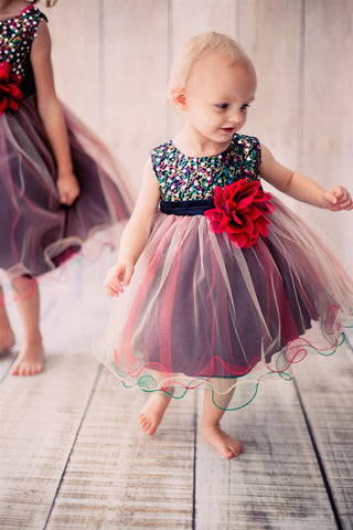 Teal Multi-sequin Trio Color Tulle Baby Dress