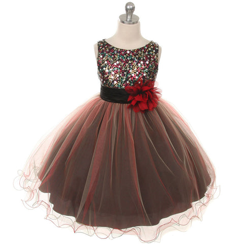 Red Multi-sequin Trio Color Tulle Baby Dress